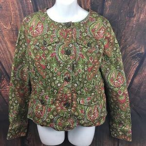 Charter Club Floral Button Up Jacket M